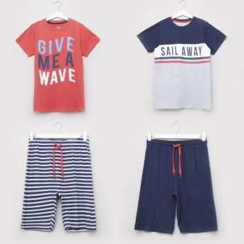 Juniors Printed Short Sleeves T-shirt and Shorts - Set of 2