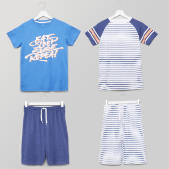 Juniors Printed T-shirt with Drawstring Bermuda Shorts - Set of 2