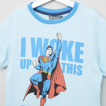 Justice League Printed Round Neck T-shirt with Bermuda Shorts