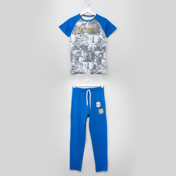 Spider-Man Printed Short Sleeves T-shirt and Drawstring Pyjama Set