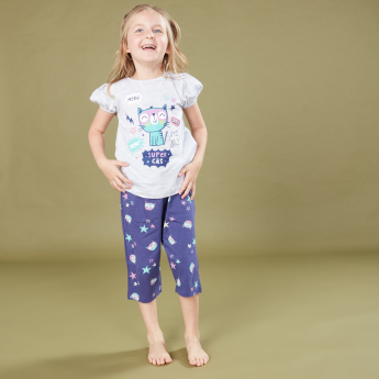 Juniors Printed Round Neck T-Shirt with 3/4 Pants - Set of 2