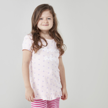 Juniors Printed Short Sleeves Top with Capris - Set of 2