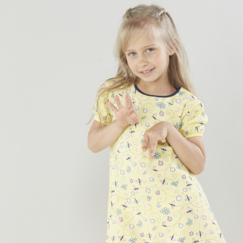 Juniors Printed Night Dress with Round Neck - Set of 2