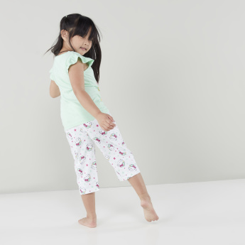 Hello Kitty Printed Frilled Sleeves Top with Capris