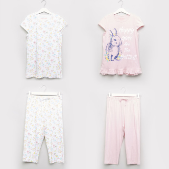 Juniors Printed Top and Pyjamas - Set of 2