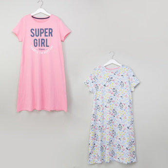 Juniors Printed Cap Sleeves Sleep Dress - Set of 2
