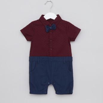 Juniors Textured Romper with Bow Tie Detail