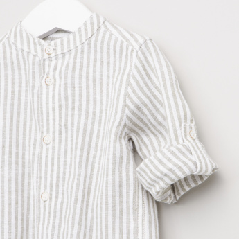 Giggles Striped Shirt with Mandarin Collar and Long Sleeves