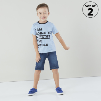 Juniors Printed T-shirt with Round Neck and Short Sleeves - Set of 2