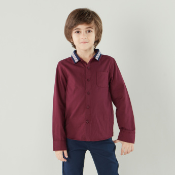 Juniors Long Sleeves Shirt with Striped Collar