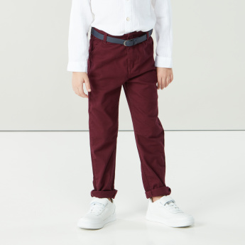 Juniors Full Length Evergreen Pants with Pocket Detail and Belt Loops