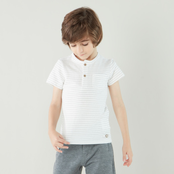 Eligo Striped Henley Neck T-shirt with Short Sleeves