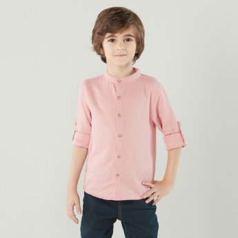 Eligo Solid Shirt with Mandarin Collar and Long Sleeves