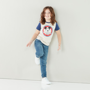 Mickey Mouse Fun & Friends Graphic Printed T-shirt with Round Neck