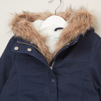 Bossini Hooded Coat with Pockets and Snap Button Closure