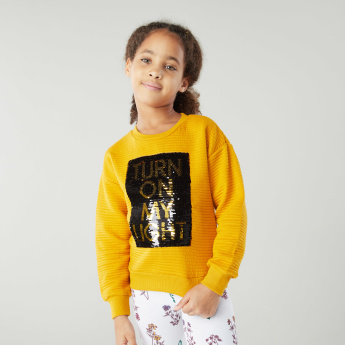Iconic Textured Sequinned Sweatshirt with Long Sleeves