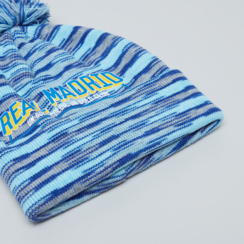 Real Madrid Printed Winter Cap with Pom-Pom Detail