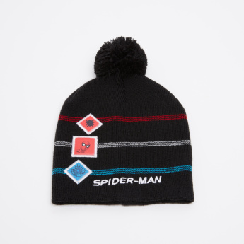 Spider-Man Embroidered Beanie Cap with Pom-Pom Detail