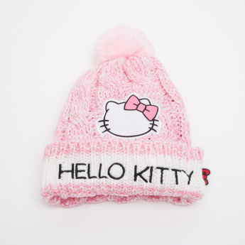 Hello Kitty Embroidered Winter Beanie Cap with Pom-Pom Detail