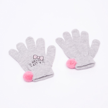 Hello Kitty Printed Beanie Cap with Gloves