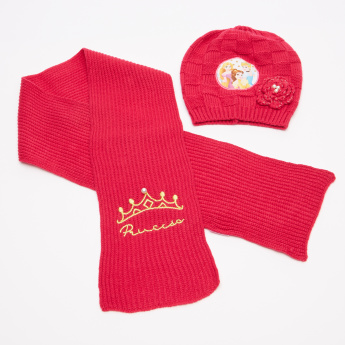 Princess Printed Scarf with Beanie Cap