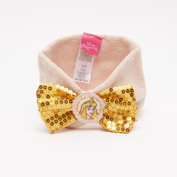 Princess Printed Headband with Bow Applique and Sequin Detail