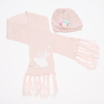 Frozen Printed Winter Beanie Cap with Scarf