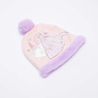 Frozen Printed Winter Beanie Cap with Pom-Pom Applique