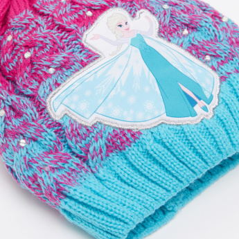 Frozen Embroidered Applique Beanie Cap with Pom-Pom Detail