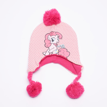 My Little Pony Printed Cap with Pom-Pom Detail