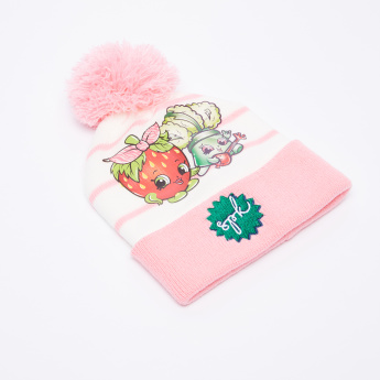 Shopkins Striped Beanie Cap with Scarf