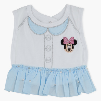 Minnie Mouse Embroidered Bib with Press Button Closure