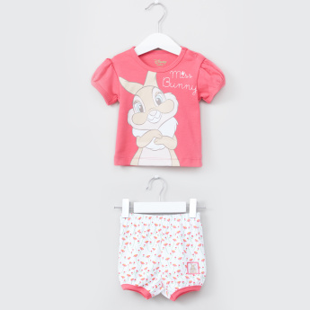 Miss Bunny Printed Round Neck Top with Shorts