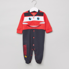 Cars Embroidered Long Sleeves Sleepsuit
