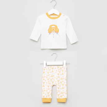 Juniors Geomteric Printed T-shirt and Pyjama Set