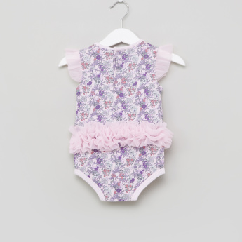 Juniors Printed Frill Detail Bodysuit