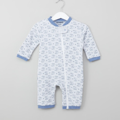 Juniors Elephant Printed Open Feet Sleepsuit