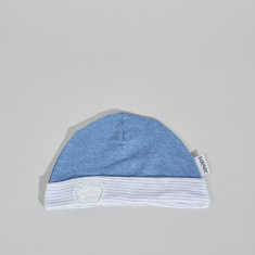 Juniors Beanie Cap with Stripes and Embroidered Applique Detail