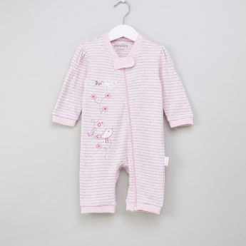 Juniors Birdy Applique Detail Striped Open Feet Sleepsuit