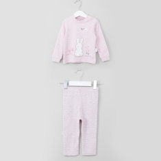 Juniors Birdy Embroidered T-Shirt and Striped Pyjama Set