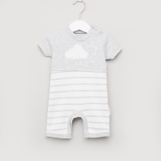 Juniors Striped Sleepsuit with Round Neck and Press Button Closure