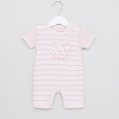 Juniors Striped Romper with Short Sleeves